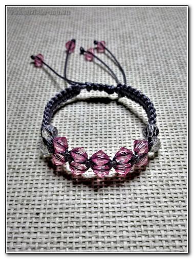 5f74b19b894 Rękodzieło- bransoletka makrama szara- biżuteria artystyczna